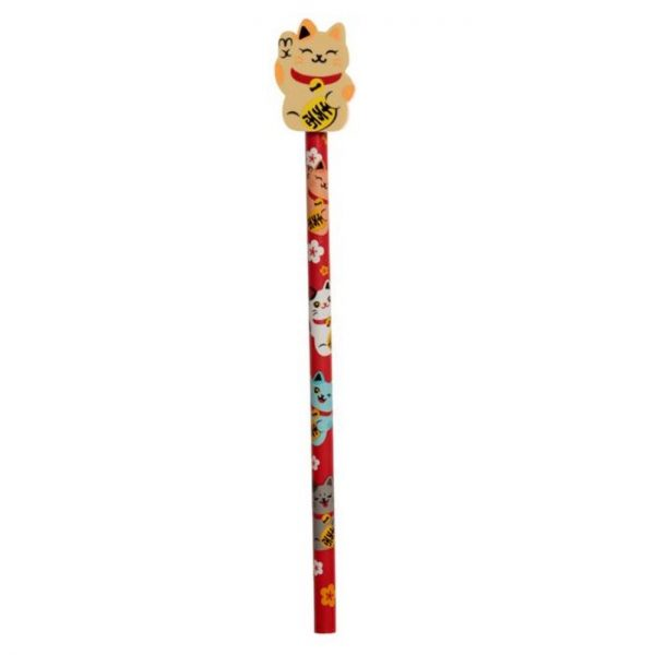 Maneki Neko Lucky Cat Pencil with Eraser Topper - Yellow 1 - pre milovníkov mačiek