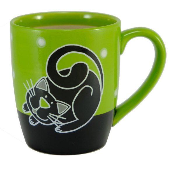 Keramický hrnček - zelený s čiernou mačkou 1 - pre milovníkov mačiek