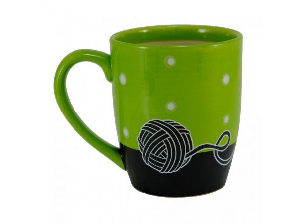 Keramický hrnček - zelený s čiernou mačkou 2 - pre milovníkov mačiek