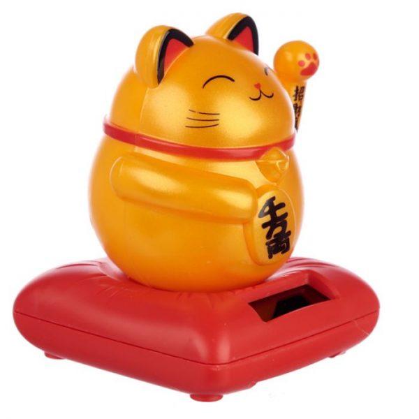 Solárna mávajúca mačka - zlatá 3 - pre milovníkov mačiek