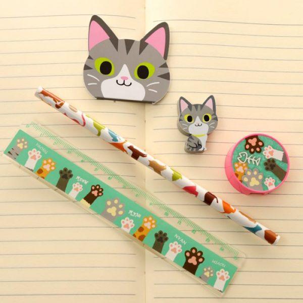 5-dielna sada mačacích školských potrieb - sivá 1 - pre milovníkov mačiek