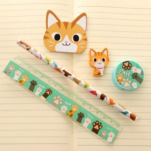 5-dielna sada mačacích školských potrieb - oranžová 1 - pre milovníkov mačiek