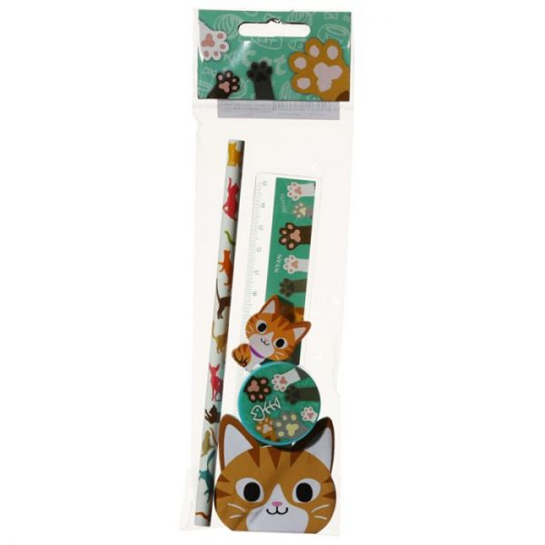 5-dielna sada mačacích školských potrieb - oranžová 2 - pre milovníkov mačiek