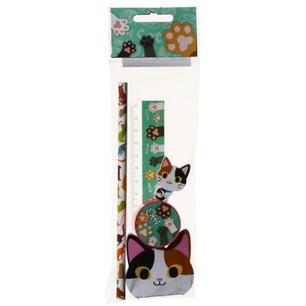 5-dielna sada mačacích školských potrieb - čierno-oranžová 2 - pre milovníkov mačiek