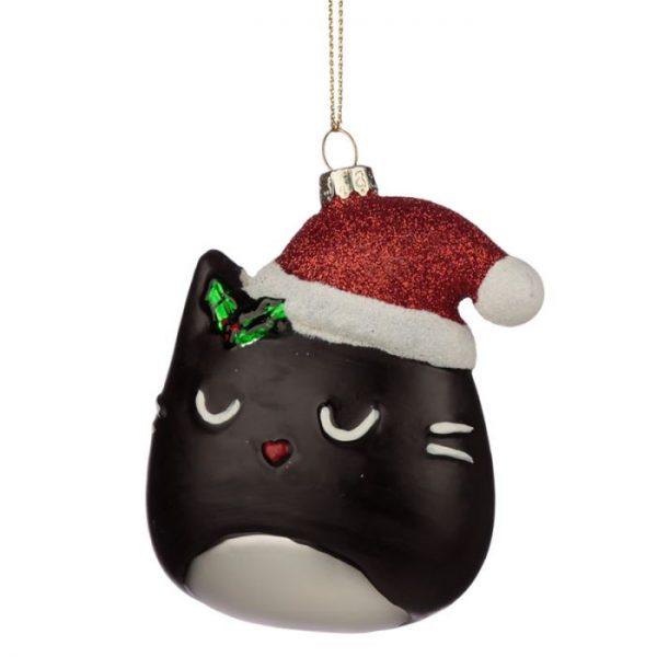 Feline Fine Sklenená vianočná dekorácia mačacia hlava 1 - pre milovníkov mačiek