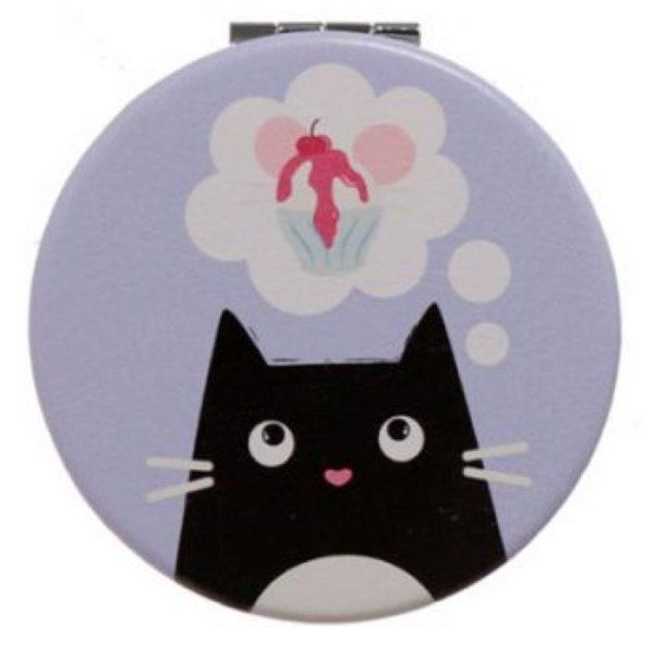 Feline Fine Cat Koženkové kompaktné zrkadlo - fialové 1 - pre milovníkov mačiek