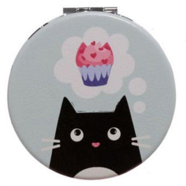 Feline Fine Cat Koženkové kompaktné zrkadlo - svetlo tyrkysové 1 - pre milovníkov mačiek
