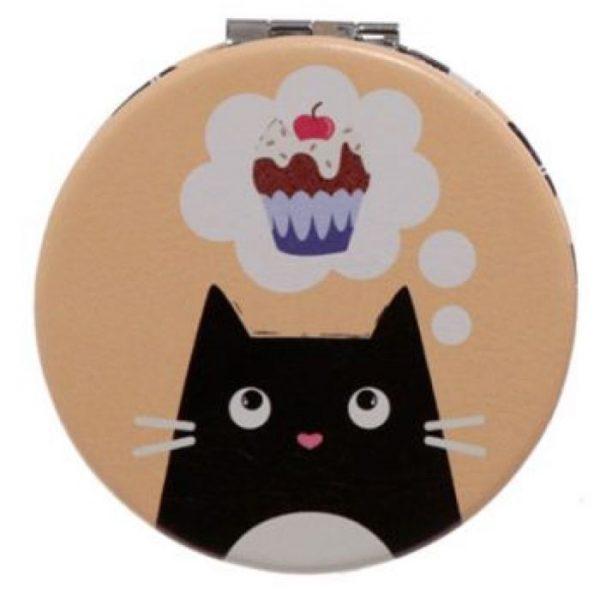 Feline Fine Cat Koženkové kompaktné zrkadlo - žlté 1 - pre milovníkov mačiek
