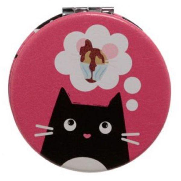 Feline Fine Cat Koženkové kompaktné zrkadlo - ružové 1 - pre milovníkov mačiek