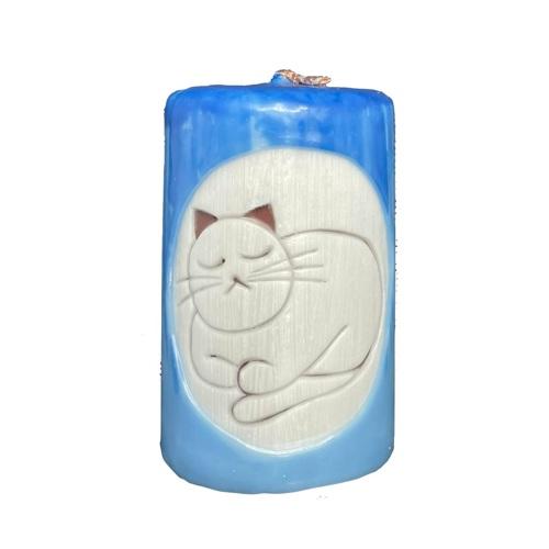 Aromatická ručne vyrobená sviečka - modrá s vôňou levandule, spiaca mačka 1 - pre milovníkov mačiek