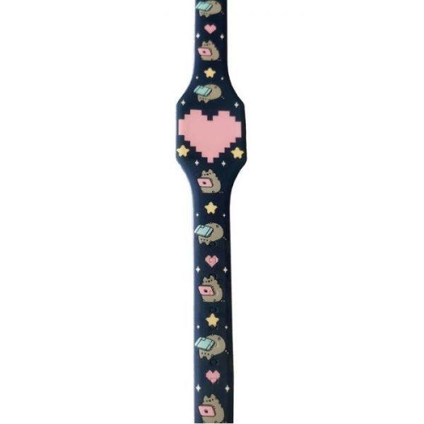 Pusheen Cat Silikonové digitální hodinky - tmavě modrá s růžovým srdcem 1 - pre milovníkov mačiek