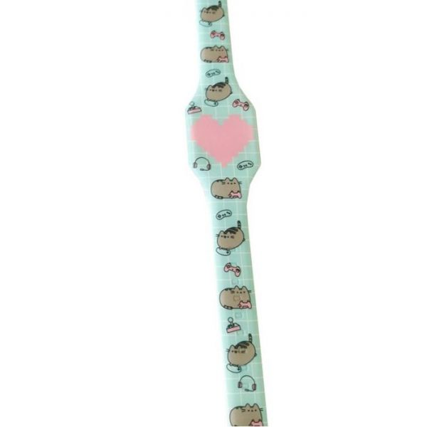 Pusheen Cat Silikonové digitální hodinky - světle modré s růžovým srdcem 1 - pre milovníkov mačiek