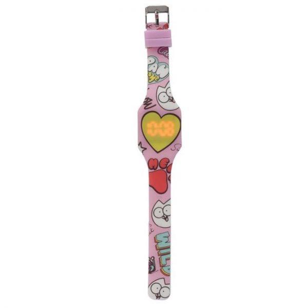 Simon's Cat Silikónové digitálne hodinky - ružové so žltým srdcom 1 - pre milovníkov mačiek