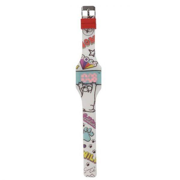 Simon's Cat Silikónové digitálne hodinky - biele boss 1 - pre milovníkov mačiek