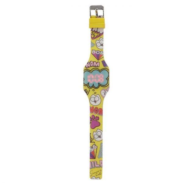 Simon's Cat Silikónové digitálne hodinky - žlté 1 - pre milovníkov mačiek