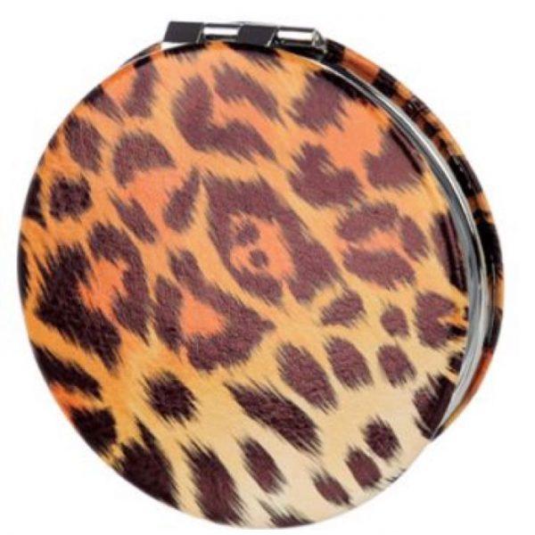Spots & Stripes Big Cat Koženkové kompaktné zrkadlo Big Cat - leopard 6 - pre milovníkov mačiek