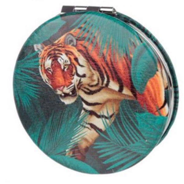 Spots & Stripes Big Cat Koženkové kompaktné zrkadlo Big Cat - tiger 1 - pre milovníkov mačiek