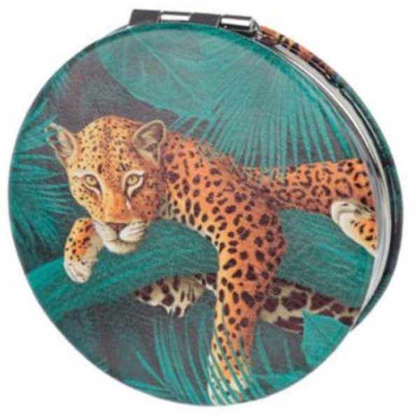 Spots & Stripes Big Cat Koženkové kompaktné zrkadlo Big Cat - leopard 1 - pre milovníkov mačiek