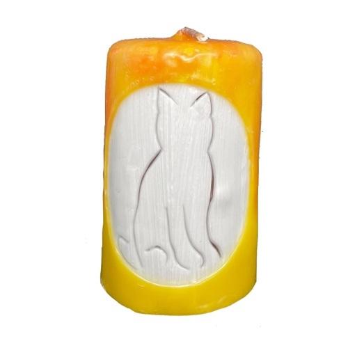 Aromatická ručne vyrobená sviečka - žltá bez vône, silueta mačky 1 - pre milovníkov mačiek